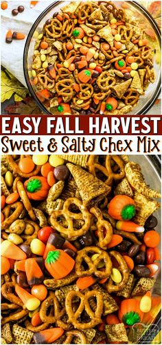Harvest Chex Mix made with M&M's, pretzels, candy corn & more! Mix tossed in pumpkin spiced butter then baked for the perfect crunch. Perfectly simple sweet & salty Fall treat! #chex #chexmix #sweet #salty #Fall #Harvest #recipe from BUTTER WITH A SIDE OF BREAD
