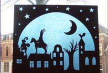 Sinterklaas - id love to paper cut something like this for our holiday windows. Kirigami, Snowflake Cutouts, Paper Art, Paper Crafts, Doodle Designs, Christmas Activities, Xmas Crafts, Diy Projects To Try, Halloween