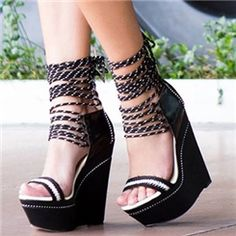 Sexy black wedges with white strips