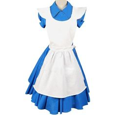 Alice in Wonderland Movie/Film Blue Cosplay Costume Outfit Suit Maid... ($55) ❤ liked on Polyvore featuring costumes, alice halloween costume, role play costumes, white halloween costumes, cosplay costumes and chambermaid costume