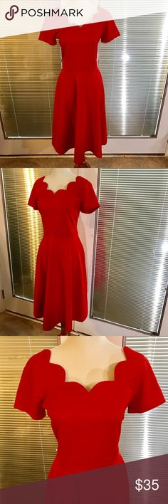 NWT Scalloped neckline dress Beautiful red dress with scalloped neckline. Zips up back and has stretch to material. Very classic retro vintage look to this beauty 👏. 18 inch UA to UA and 42 inch length . 95% polyester 5%spandex maxinni Dresses