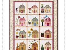 Country Cottages Pattern: Country Cottages was the first mystery BOM designed by Shabby Fabrics, and is now available as a full pattern set! House Quilt Patterns, House Quilt Block, Quilt Blocks, Sewing Patterns, Colchas Quilting, Quilting Projects, Small Quilts, Mini Quilts, Shabby Fabrics