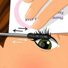 """When applying mascara, hold a business card behind your lashes and apply it in a back and forth motion starting at the roots. You can really put it on this way, coating every lash fast!"""