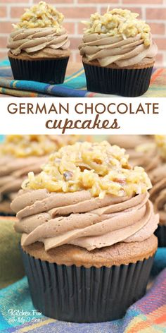 German Chocolate Cupcakes with a delicious homemade frosting and topped with a coconut pecan mixture is a wonderful new take on your favorite cake. Wedding Cupcake Recipes, Gourmet Cupcake Recipes, Homemade Cupcake Recipes, Homemade Frosting, Cupcake Flavors, Dessert Recipes, Unique Cupcake Recipes, Gourmet Desserts, Gourmet Cupcakes