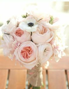 Blush + ivory bouquet. Love a few anemones not too many :)