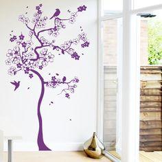 Fancy Wandtattoo Kirschblumen Baum mit Kolibris xcm