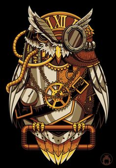 steampunk owl cartoon - Google Search
