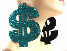 Basketball Wives Blue Dollar Sign $ 5 Inch Drop Earrings POParazzi JOTW. $0.01