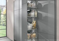 German Kitchen Design Nobilia Collection - The harmonious union of aesthetics and functionality: LINE N tall unit with larder pull-out and vertical recessed handles. Kitchen Tall Units, Nobilia Kitchen, Tall Kitchen Cabinets, Contemporary Kitchen Cabinets, Kitchen Room Design, Modern Kitchen Design, Interior Design Kitchen, Kitchen Storage, Kitchen Larder Units
