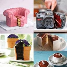 Never Judge a Cake by its Cover.Amazing cakes, works of art! Crazy Cakes, Fancy Cakes, Cute Cakes, Yummy Cakes, Pretty Cakes, Unique Cakes, Creative Cakes, Creative Food, Creative Ideas