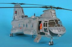 "Boeing Vertol CH-46E ""Bullfrog"", ACADEMY 1/48 scale. By Ted Taylor. USMC #scale_model #helicopter #chopper"