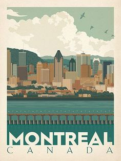 Canada: Montreal Skyline - Our most adventurous series of classic travel poster . - Canada: Montreal Skyline – Our most adventurous series of classic travel poster art is called the - Voyage Montreal, Of Montreal, Montreal Canada, New Travel, Canada Travel, Overseas Travel, Skyline, City Poster, Posters Canada