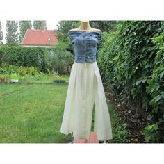 Buttoned Skirt Vintage Long Maxi White Size EUR 36 X UK 8 Two Slits in... ($37) ❤ liked on Polyvore featuring skirts, maxi skirt, long white maxi skirt, slit maxi skirt, floor length maxi skirt and long skirts