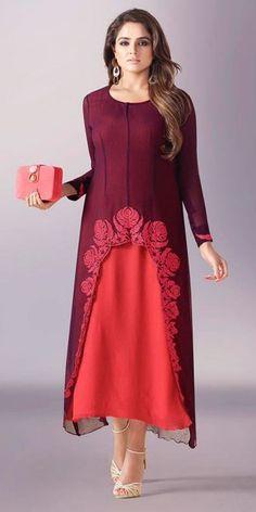 Pretty Purple Georgette Kurti.