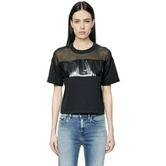 Calvin Klein Jeans Women Logo Cotton Jersey & Mesh T-shirt (123 AUD) ❤ liked on Polyvore featuring tops, t-shirts, black, crew neck t shirt, logo t shirts, crew-neck tee, crew neck tops and logo tee