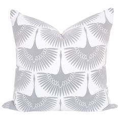 """A graphic bird pillow in a dove grey and white with an exposed brass YYK zipper. Black birds have a """"flocked"""" finish which is a short, textured velvet feeling."""