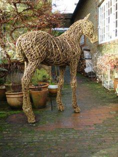 Willow Horse / Equines #sculpture by #sculptor Emma Walker titled: '`Foal` lifesize willow Sculpture' #art