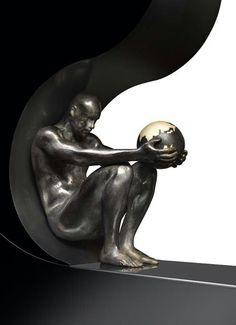 """""""Hes got the whole world in his hands"""" Lorenzo Quinn Wassily Kandinsky, Lorenzo Quinn, Art Sculpture, Michelangelo, Art Design, Art Plastique, Public Art, Oeuvre D'art, Black Art"""