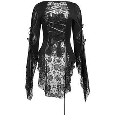 Black Rose Lace Blouse by Punk Rave ($90) ❤ liked on Polyvore featuring tops, blouses, punk tops, goth tops, lace blouse, button down top and button-down blouses