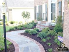 Front walkway & stoop using symmetrical flagstone with brick soldier course Front walkway & stoop us Brick Walkway, Front Walkway, Brick Patios, Front Porch, Front Steps, Paver Path, Driveway Pavers, Flagstone Walkway, Porch Steps