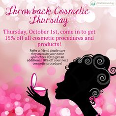 Shop smart, look beautiful. Call any time before October to schedule your cosmetic appointment or pop in to receive a discount on products! One day only! 10.01.15!  #throwbackthursday #tbt #truthfultuesday #altadermatology #aesthetics #cosmetic #discount #promo #October #dermatology #lagunaniguel #orangecounty #california #missionviejo #laderaranch #rsm #danapoint #cotodecaza