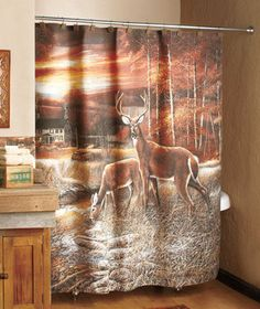 New 70 X 72 Tranquil Wildlife Deer Buck Bathroom Shower Curtain On EBay