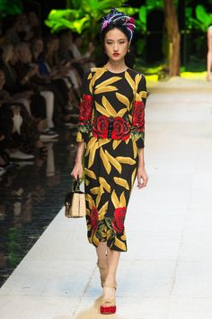 Retro Black with Gold and Red Rose designed Calf Length Dress by Dolce & Gabbana, Look #90