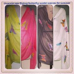 flying butterfly handpainted in modal scarves for summer available in 4 colors , oumnia boutique, saifi village beirut lebanon