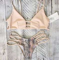 Hollow out Snake Print sexy bikini