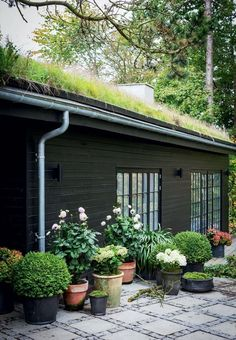 200 Black Shed Exterior Makeover - Nesting With Grace Patio Design, Exterior Design, Garden Design, Roof Design, Black Exterior, Exterior Paint, House Design, Black Shed, Scandinavian Garden