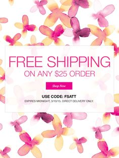 March 8-10: Get free shipping on any order over $25 at my eStore! www.youravon.com/lezstep  #AvonRep #Avon