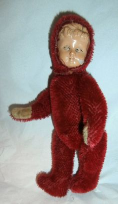 estate  sale/c1900  red  teddy  doll  MOHAIR  IS  THERE  AT  100%