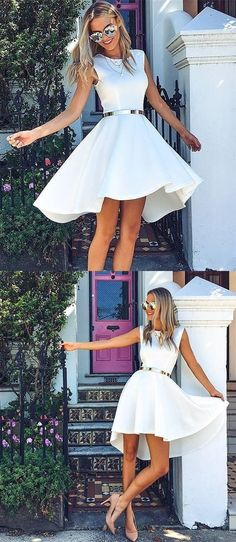 high low homecoming dress, 2017 white homecoming dress, short homecoming dress, party dress