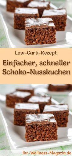 Rezept für Low Carb Schoko-Nusskuchen: Der kohlenhydratarme, kalorienreduzierte Kuchen wird ohne Zucker und Getreidemehl zubereitet ... #lowcarb #kuchen #backen
