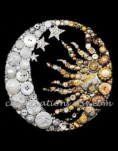 Unique ONE OF A KIND Button Art Collages by CherCreations - Moon & Sun button art. Sold on Etsy by CherCreations. Best Picture For creative crafts For Your T - Jewelry Tree, Old Jewelry, Jewelry Findings, Jewelry Hanger, Crafts To Make, Arts And Crafts, Vintage Jewelry Crafts, Button Crafts, Button Art Projects