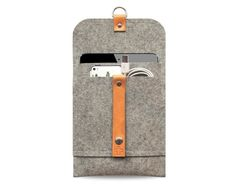 iPad mini case iPad mini cover pure grey wool felt, leather straps, very protectiv, front pocket, anti- static on Etsy, £22.67