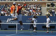 Bob and Mike Bryan of the U.S. celebrate after defeating Leander Paes of India and Radek Stepanek of the Czech Republic in their men's doubles finals match at the U.S. Open tennis tournament in New York September 7, 2012. REUTERS/Eduardo Munoz