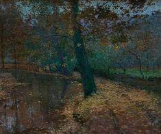 Autumn Mood , Okořský Stream - Antonín Hudeček , 1903 Czech, 1872-1941 oil on canvas, 100 x 120 cm .