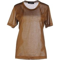 Dsquared2 T-shirt ($111) ❤ liked on Polyvore featuring tops, t-shirts, khaki, logo t shirts, brown tee, jersey top, khaki t shirt and brown jersey