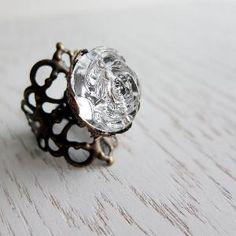 Nostalgic Rose Ring - Vintage Lucite In Crystal Clear (adjustable) - Last Piece | Luulla