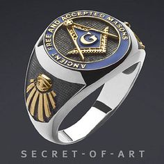 A.F.A.M. MASONIC FREIMAURER SILVER RING 24K-GOLD PLATED
