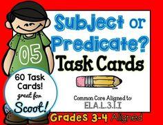 Subject or Predicate Third Grade Task Cards Fourth Grade, Third Grade, Simple Subject And Predicate, Complete Predicate, Teacher Helper, Teacher Education, Task Cards, Lesson Plans