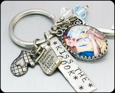 Stainless Steel Cooking Key Chain, Kiss the Cook Keychain, Key Chain Jewelry, Crystal Key Chain  by BlackberryDesigns, $43.00