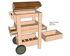.  Check website with best way to #learn #woodworking here: http://ewoodworking.ninja . Saddle/Tack Caddy Design by Randy Morter | I love the concept of having an open-top to store brushes and cleaning supplies so all that space doesnt just go to waste. It could even be fitted with a lock to serve as a catch all for keys, cell phones, etc. Add a bridle rack and its perfect!