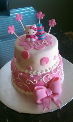 Two tier Hello Kitty themed cake, covered and decorated with Marshmallow fondant.
