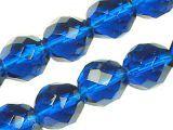Glasschliffperlen Strang Kobalt