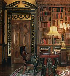 A study in Highclere Castle ~ setting of 'Downton Abbey'. ~ The Edwardian silk lampshade is just lovely!