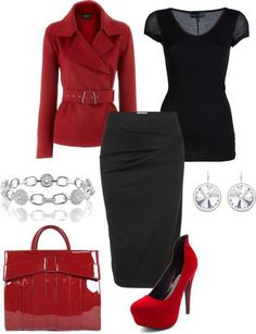 i need red shoes!! :) Office Attire, Work Attire, Classy Outfits, Cool Outfits, Skirt Outfits, Passion For Fashion, Cool Style, Business Wear, Business Outfit
