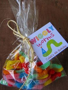 Fishing Party Favor. These worms, gummi worm or swedish fish