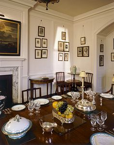 WALMER CASTLE, Kent. Interior view.The Dining room table set for dinner, with the Queen Mother's silver & china ware. As Lord Warden of the Cinque Ports, the Queen Mother entertained guests at Walmer.